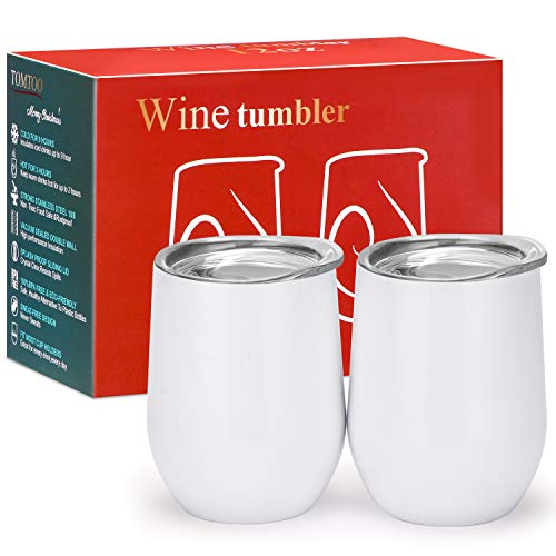 TOMTOO Wine Tumbler With Lid - 12 oz Double Wall Vacuum Insulated Travel Tumbler Cup - 2 Pack Wine Glasses Perfect Christmas Gifts (12 oz, D-White 02)