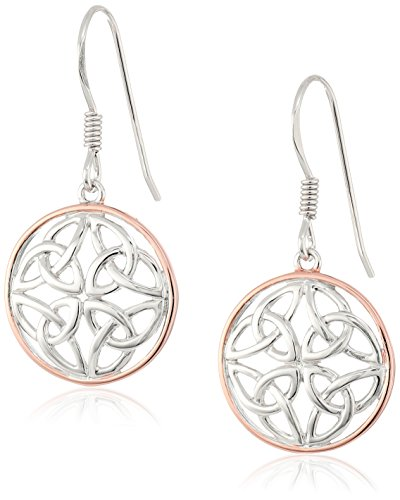 Sterling Silver Celtic Knot Round Drop Wire Earrings