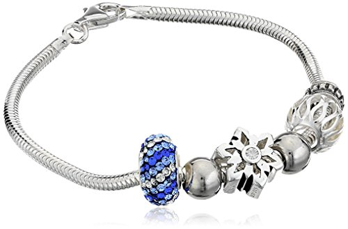 CHARMED BEADS Sterling Silver Snowflake and Bead Charm Br...