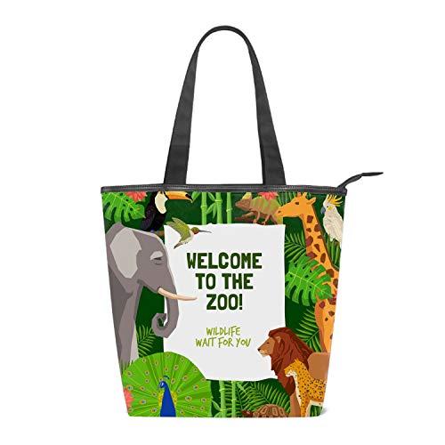 Hobo Giraffe (Women's Canvas Zipper Closure Handbag Visit Zoo Giraffe Handbags Shoulder Lunch Tote Bag with Large Capacity Best Gifts for Teen Girls)