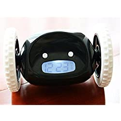 Running Clock Alarm With Moving Wheels Runaway Clocky LCD Display - Black Color