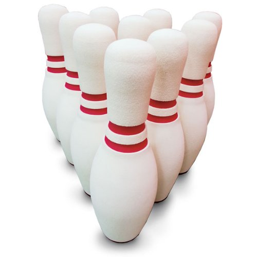 MAC-T PE08676 Foam Bowling Pin Set, White with Red (Pack ...