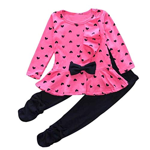 0-3 Years Kids Baby Girls Clothes Cute Heart-Shaped Print Bow Tops T Shirt + Pants Leggings 2Pcs Outfits Sets (Hot Pink, 12-18 Months) ()