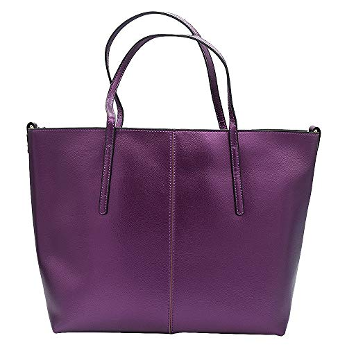 Anynow Luxurious Women's Genuine Leather Handbag Fashion Cowhide Shoulder Bag Ladies Tote Bag (Purple)