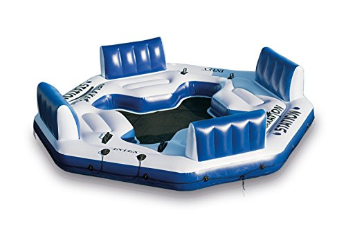Intex Pacific Paradise Relaxation Station Water Lounge 4-Person River Tube (Island Float)