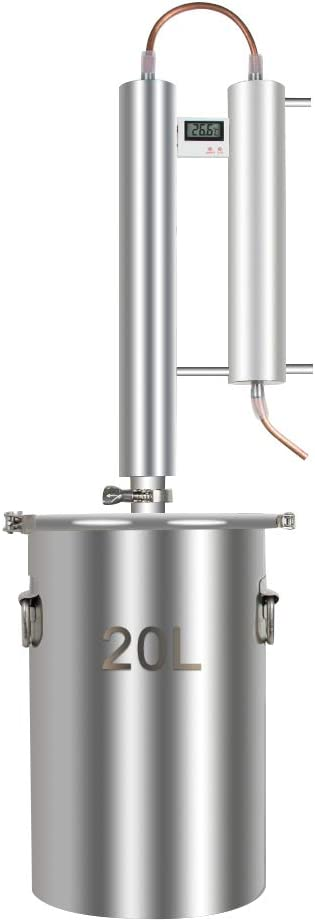 Alcohol Distiller, Home Brewing Kit Moonshine Ethanol Still Wine Making Starter Sets Stainless Steel Boiler, US Shipping (20L)