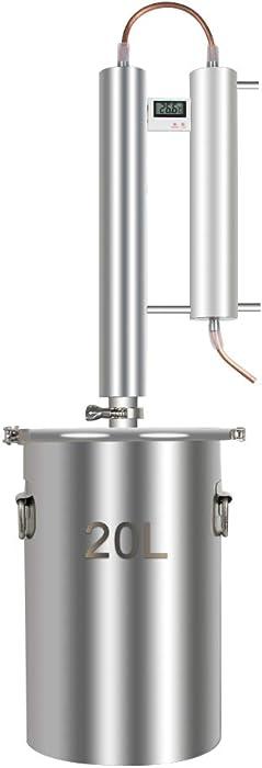 Alcohol Distiller, Home Brewing Kit Moonshine Ethanol Still Wine Making Starter Sets Stainless Steel Boiler, US Shipping (20L)