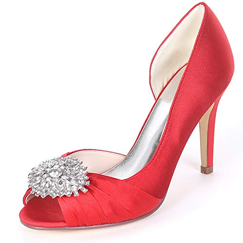 Low Heels Peep Red Shoes Toe Women Rhinestones YC Satin 9cm L Sparkling Platform Wedding Satin High aUTwxpT