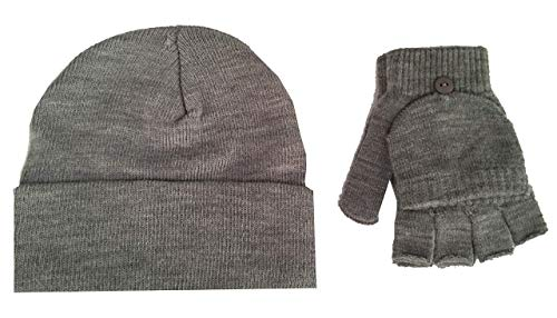 Adult Unisex Knit Hat and Gloves set (contains one knit had and one pair of gloves) - Grey