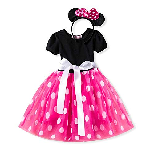 Infant Baby Toddlers Girls Christmas Polka Dots Birthday Princess Bowknot Tutu Dress Halloween Xmas Cosplay Carnival Pageant Cute Mouse Dress Up Fancy Costume Party Outfits with Headband, Hot Pink 4Y -