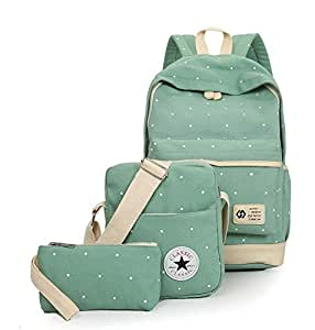 light green wave print three-piece set backpack Primary and middle school