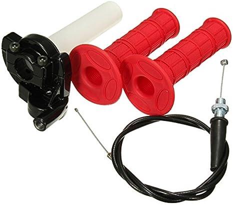JenNiFer 22Mm Acelerador Puños Twist con Cable De Acción Rápida para 110Cc 125Cc Pit Dirt Bike Rojo