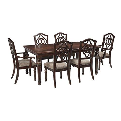 Ashley Leahlyn 7 Piece Dining Set in Reddish Brown