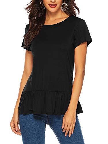 Florboom Womens Cute Tshirts Babydoll Crew Neck Cap Sleeve T Shirts Black S