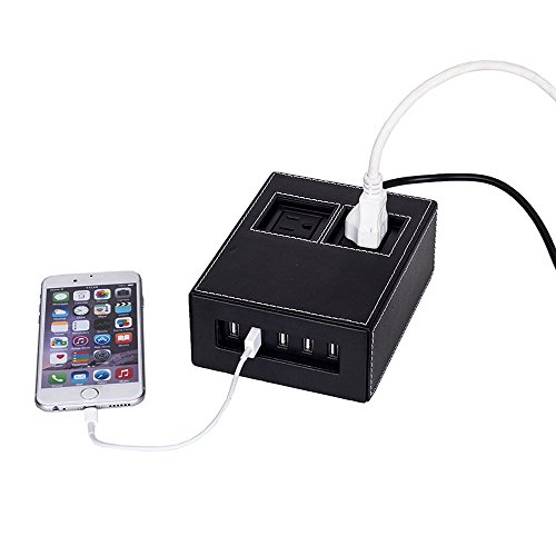 G.U.S. Black Leatherette Power Hub Charging Station, with 5-USB + 2-AC Ports, Desk Top Electronics and Cord Management Organizer, Available in 4 Decorative Finishes