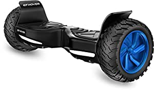 Hoverboard Two Wheel Electric Scooter UL2272 All Terrain GT Hover GT8 Bluetooth Speakers NO FALL TECHNOLOGY GT Hover APP -FREE Hardcase Bag - LG Firesafe Battery (Jet Black with Deep Blue Wheels)