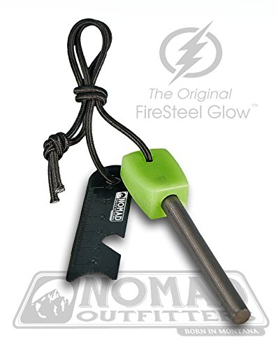 Nomad Scraper (FireSteel Glow - Glow-In-The-Dark Survival Fire Starter - 15,000 Strike Ferrocerium Rod, Lumilight Luminous Handle, 6 in One Multi Tool, Shock Cord Lanyard, Survival Hiking Hunting Camping Backpacking)