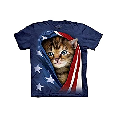 Patriotic Kitten Wrapped In The Stars and Stripes T-Shirt Blue