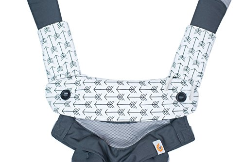 Premium 2 Packs Drool and Teething Reversible Cotton Pad | Fits Ergobaby Four Position 360 and Most Baby Carrier | Gray Arrow Cross Design | Hypoallergenic | Great Baby Shower Gift by Mila Millie by Mila Millie (Image #3)