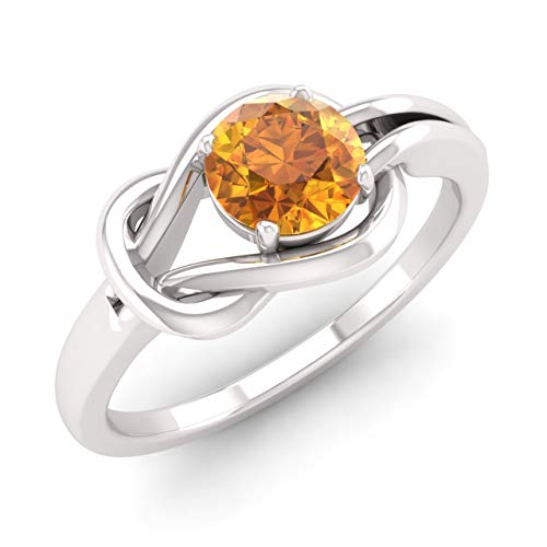 Diamondere Natural and Certified Citrine Solitaire Engagement Ring in 14K White Gold | 0.49 Carat Infinity Knot Ring for Women, US Size 7