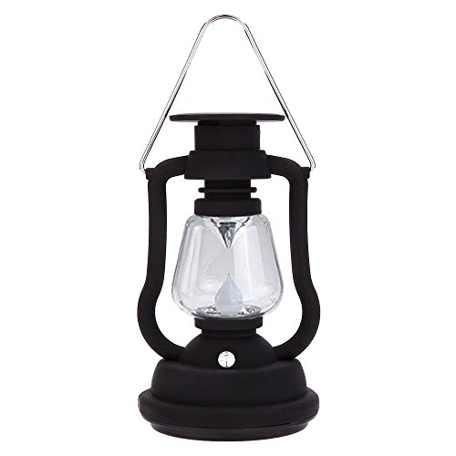 Solar Power Lantern Antique Light Lamp 7 LED for Garden Patio Umbrella Lamp Tree Pool Pavilion Lawn Porch Decor Camping Lantern Hurricane Lantern (Black Lantern) ()