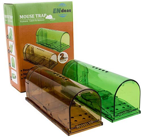 TWO COLORS! Upgraded No Kill Humane Mouse Trap for Indoor/Outdoor. Safe for Kids, People and Pet. Catch and Release. Catcher That Works for Small Rodents. Easy to set, Reusable and Cruelty Free 2Pack. (Pack Trap 2 Mouse)