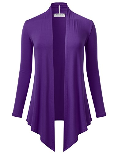(FLORIA Women's Open Front Drape Hem Lightweight Long Sleeve Knit Cardigan Purple S)