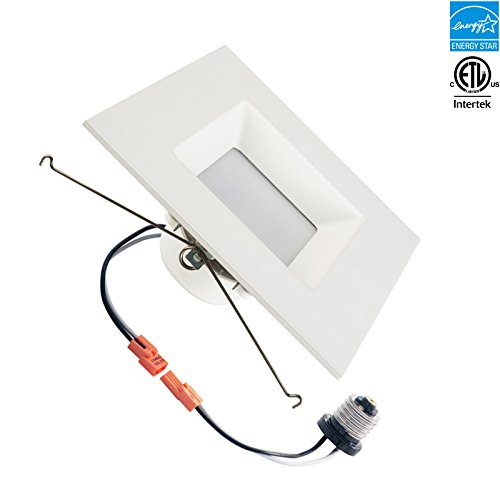 4 inch square led recessed retrofit downlight 5000k 10w 700 4 inch square led recessed retrofit downlight 5000k 10w 700 lumens day white square lens ul classified energystar dimmable amazon aloadofball Choice Image