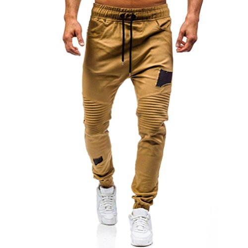 OWMEOT Men's Gym Fitness Workout Pants Bodybuilding Tapered Athletic Joggers Running Pants with Zippered Cargo Pockets (Khaki, M) by OWMEOT