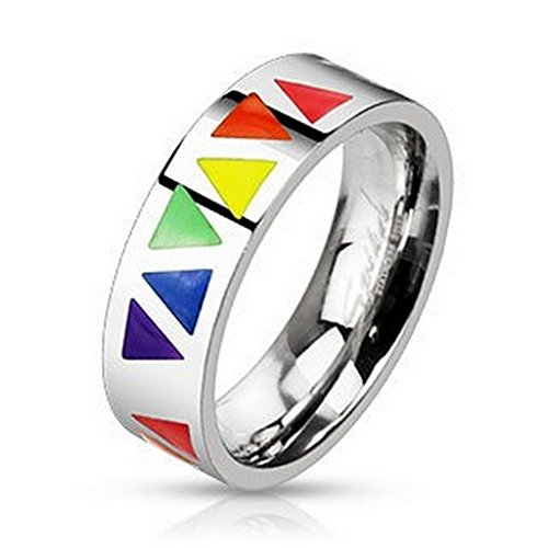 Bague triangles multi rainbow en acier inoxydable 316L