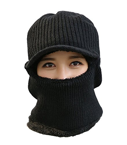 Earflap Hat Balaclava Ski Hood Winter Hat Motorcycle Neckwarmer Sport Mask (Black)