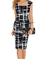 Square Neck Striped Black Midi Dress Wear to Work Sheath Pencil Dress for Women (Label L, Black)