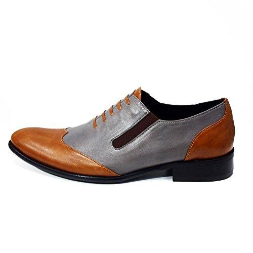 PeppeShoes Modello Belluno - Handmade Italiano da Uomo in Pelle Grigio Mocassini e Slip-On - Vacchetta Pelle Morbido - Scivolare su