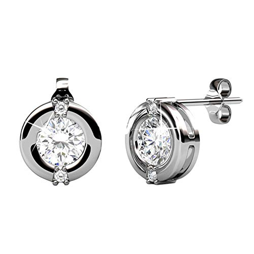 diant White Gold Stud Earrings, 18k White Gold Plated Stud with Solitaire Round Cut Swarovski Crystal, Stud Earrings for Women, Ear Studs - Hypoallergenic (Silver) ()