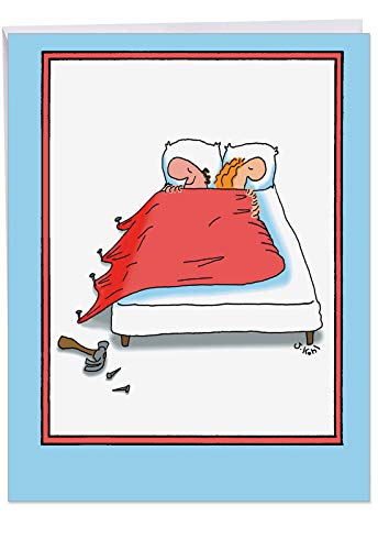 - Humorous Nail Bed Anniversary Card with Envelope (Big 8.5 x 11 Inch) - Funny Card for Wife, Wedding Anniversaries - Cartoon Stationery Greeting Notecard, Folded Paper Card J3753
