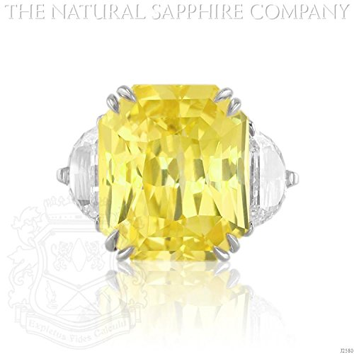 Untreated Sapphire (17.80ct Natural Untreated Yellow Sapphire Ring set in a Platinum with 1.88cts of diamonds. (J2580))