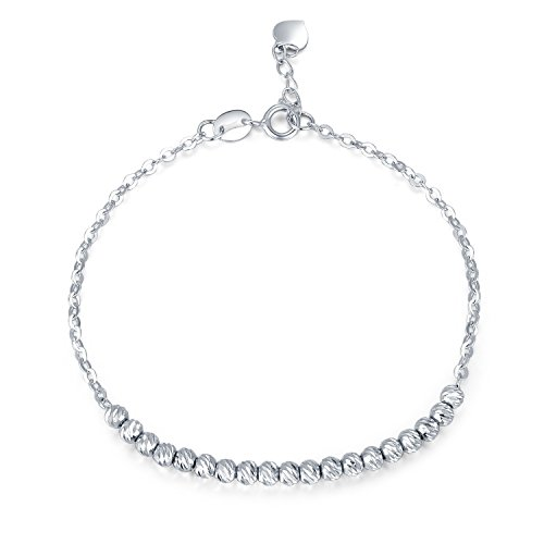 MaBelle 14K White Gold Diamond-Cut Beads Anchor Chain Bracelet (14k White Gold Anchor Chain)