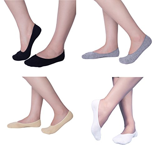 6 to 8 Pack Women's No Show Socks Ultra Low Cut Casual Cotton Non Slip Invisible Flat Boat Liner Thin Socks