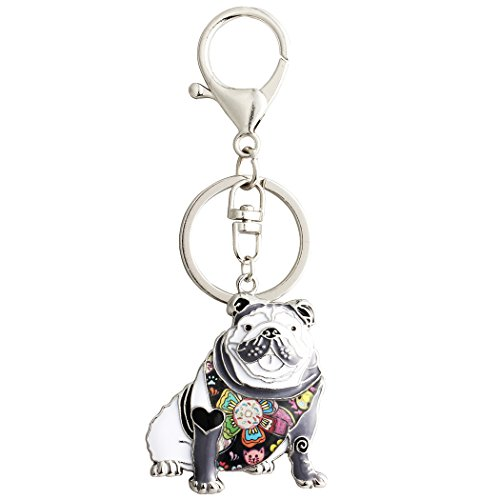 Bulldog Keychain - Luckeyui Black Enamel English Bulldog Keychain