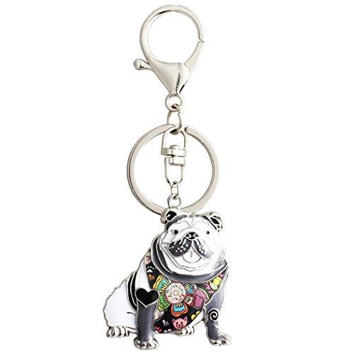 Luckeyui Black Enamel English Bulldog Keychain for Women Dog Lover Personalized Pets Animal Bag -