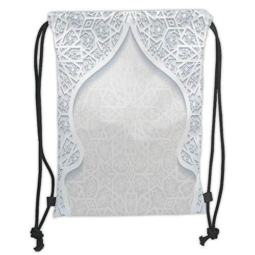 New Fashion Gym Drawstring Backpacks Bags,Traditional House Decor,Arabesque Arched Royal Persian Figure with Floral Cultural Graphic,Light Blue Soft Satin,Adjustable String Closur -