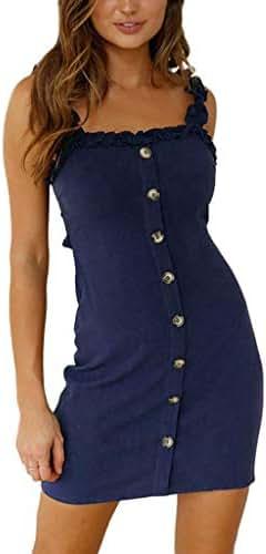 Women Strap Slip Mini Dress, Lkoezi Lady Sexy Ruffle Button Up A-Line Cool Sundress Sleeveless Low Waist Mini Dresses (S, Navy)