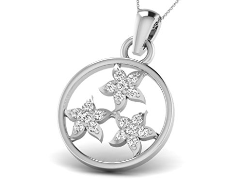 Or Blanc 9 ct Pendentifs Diamant en forme de rond, 0.07 Ct Diamant, GH-SI, 0.45 grammes.