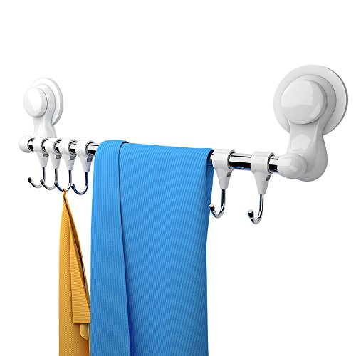KOLLIEE Suction Cup Towel Bar With Hooks Shower Self Adhesive Suction Cup Towel Hook White Suction Cup Towel Holder For Bathroom Shower
