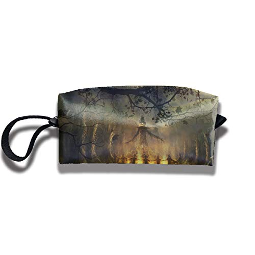 Cosmetic Bags With Zipper Makeup Bag Halloween Scary Straw Man Middle Wallet Hangbag Wristlet Holder ()