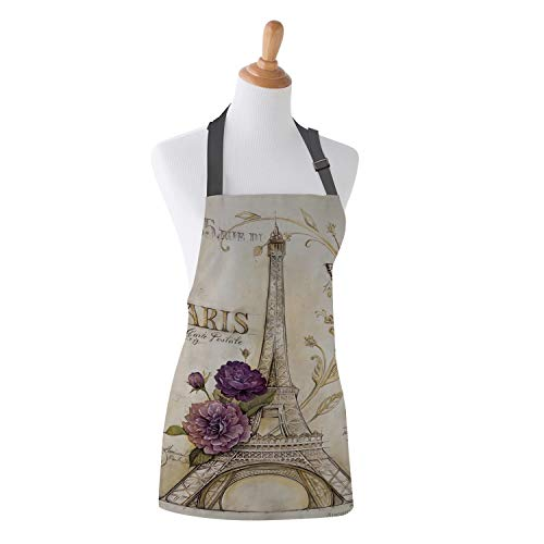Family Decor Adjustable Bib Apron for Women Men Chef, Waterdrop Resistant Kitchen, Cooking and Baking Aprons, Vintage Paris Effiel Tower Purple Flower
