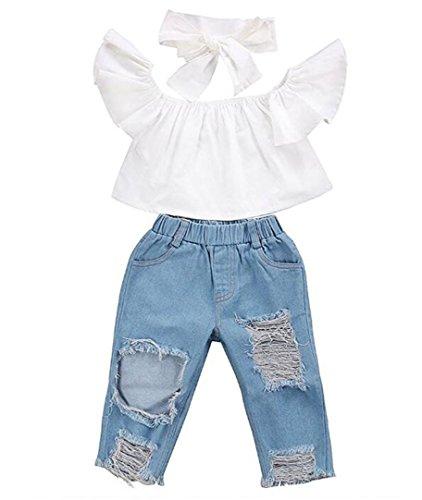 Goodlock Toddler Kids Fashion Clothes Set Baby Girls Off Shoulder Crop Tops + Hole Denim Pant Jean Headband Outfits Set 3Pcs (White, Size:18M)