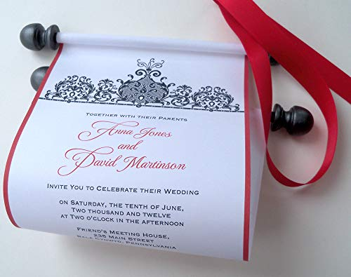 - Traditional black tie wedding invitation scrolls with red accents, set of 10