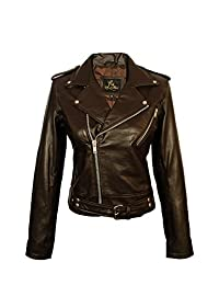 SID Women's Lambskin Leather Biker Black Jacket