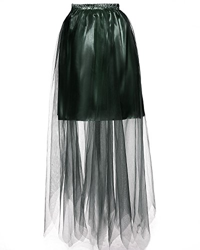 DYS Women's Long Petticoat Skirt Hoopless Satin Slip Sheer Mesh Full Length Army Green XXL/3XL -